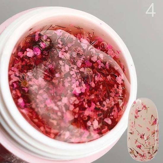 Гель SAGA Flower Fairy Gel №4 с сухоцветами, 5 мл, Все варианты для вариаций: 4
